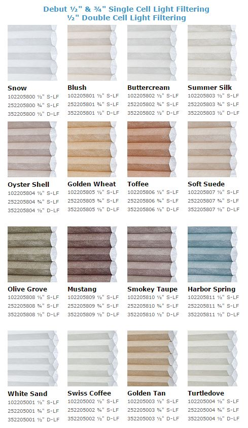 Debut Cellular Shades Colours Options